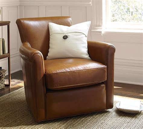 irving leather swivel armchair pottery barn