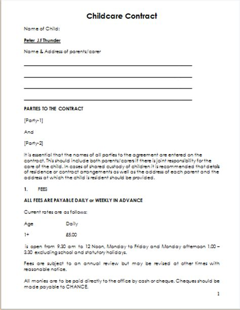daycare contract template child care contract template for ms word document hub