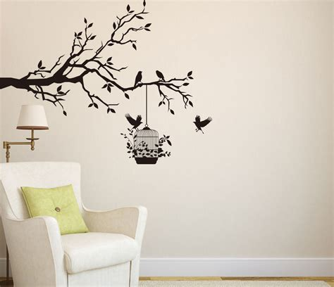 Tree Branch With Birds & Cage Art Vinyl Wall Sticker, Wall