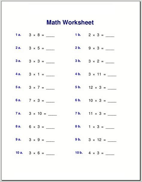 Times Tables Exercises To Print  Learning Printable