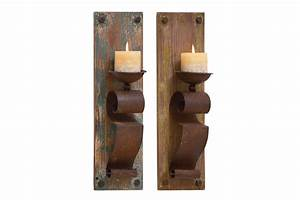rustic rust brown finish wall sconce candle holders set With kitchen colors with white cabinets with rustic iron candle holders
