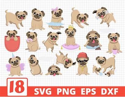 Cricut Svg Pugs Dogs Bundle Clipart Thehungryjpeg