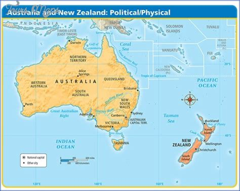australia   zealand map toursmapscom