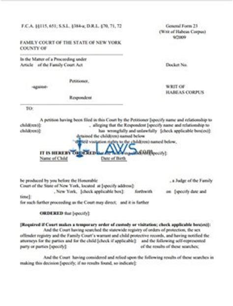 form gf  writ  habeas corpus  york forms lawscom