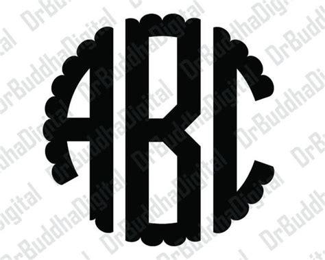 sale scalloped circle monogram font svg collection circle