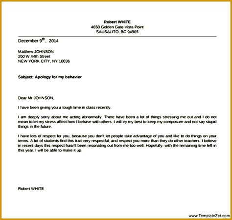 apology letter  teacher  misbehavior fabtemplatez