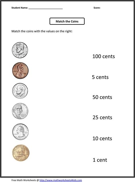 grade money worksheets  printable  grade