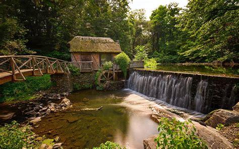 mill water river bridge forest landscape hd wallpapers