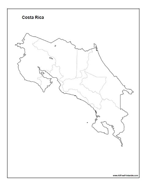 Costa Rica Map Template by Costa Rica Map Sketch Coloring Page