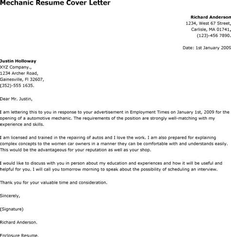 Cover Letter For A Mechanic by Maintenance Mechanic Cover Letter You Can Use This