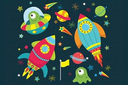 Space Clipart Outer Illustrations Outerspace Graphics Templates