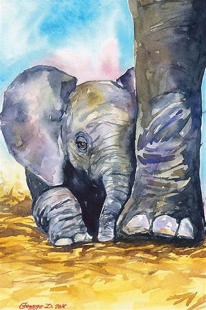 Watercolor Painting Canvas Elephant Animal African Drawing