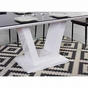 c163d725f37 queen table manger 180x90cm noir et blanc brillant achat vente table salle  a manger pas cher