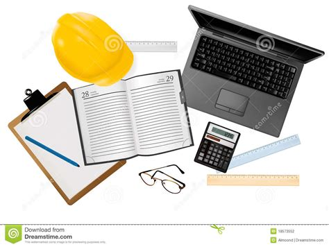 Laptop With Tools For Architectural Design Stock