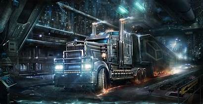 Truck Trucks Kenworth Cyberpunk Wallpapers Background Futuristic