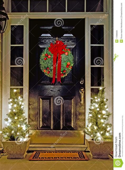 christmas decorated front door stock image image