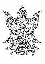 Coloring African Mask Africa Adult Pages Adults sketch template