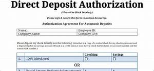 employee direct deposit form template of authorization With direct deposit forms for employees template