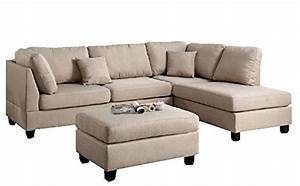 modern contemporary polyfiber fabric sectional sofa and With barcelona sectional sofa ottoman in beige