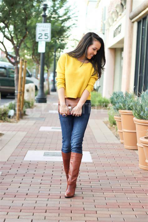 Remix Mustard H u0026 M Sweater and Tall Cognac Boots   Stylish Petite
