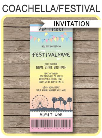 coachella themed party ticket invitation template