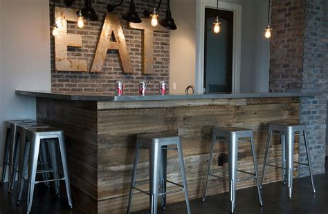 small island for kitchen rustic basement bar crafted from reclaimed wood and brick