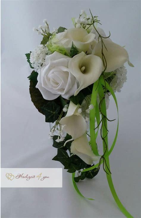 brautstrauss calla rosen gruen hochzeit kunstblumen deko
