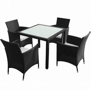 Ensemble Table Et Chaise De Jardin : ensemble de jardin table et 4 chaises en polyrotin interougehome ~ Teatrodelosmanantiales.com Idées de Décoration