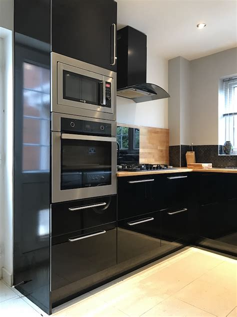 high gloss or semi gloss for kitchen cabinets black high gloss kitchen with slimline pantry kitchen city 9674