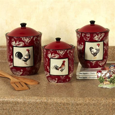 rooster kitchen canisters country rooster kitchen canister set colorful rustic