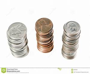 Three Stacks Of Us Coins From Above Stock Photography ...