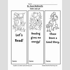 Dr Seuss Bookmarks  Have Fun Teaching