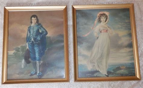 pair  large    vintage framed pinkie blue boy