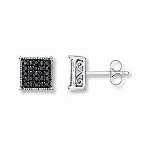 Kay - Black Diamond Earrings 1/4 ct tw Round-Cut Sterling ...
