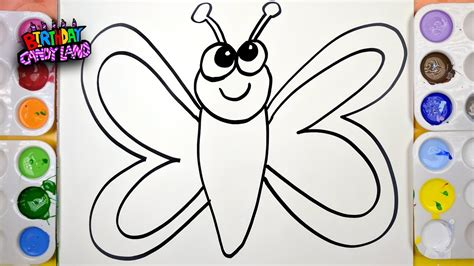 draw color paint butterfly coloring page  kids  learn