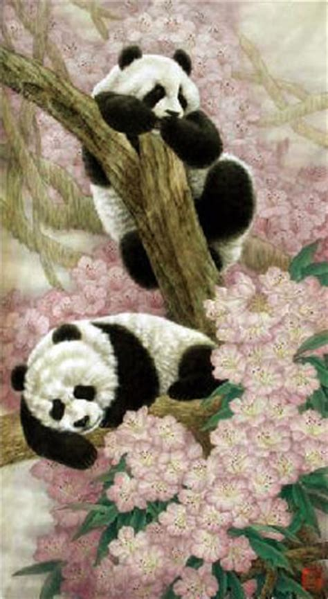 chinese panda painting   cm  cm