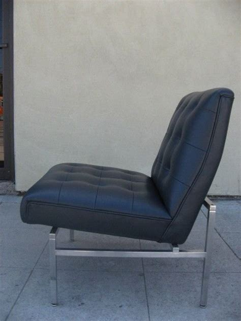 tufted navy blue leather slipper chair after florence