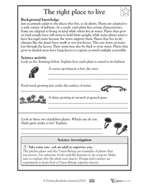 5th grade science worksheets how plants adapt to habitat