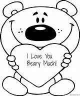 Much Beary Coloring Printable Sheet Valentine Valentines Printables Cartoon Copies Many Want sketch template