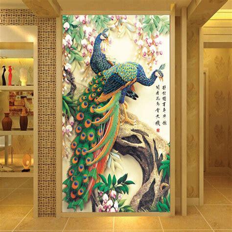 Custom Printed Wallpaper Peacock Living Room Entrance