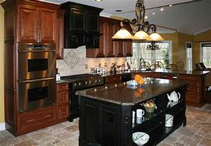 Dark Cherry Color Kitchen Cabinets And Isles - Best Home