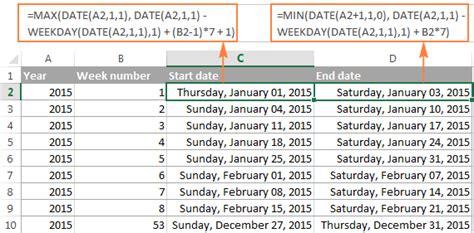 excel weeknum function convert week number date vice versa