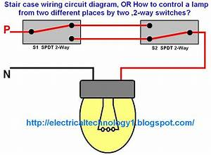 Stair Case Wiring Circuit Diagram  Or How To Control A Lamp From Two Different Places By Two  2