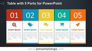 5-part Table Diagram For Powerpoint