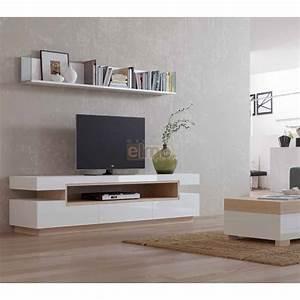 Meuble TV Design Contemporain Bois Laqu Blanc NATURAL2