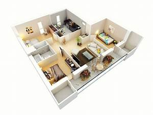 25 more 3 bedroom 3d floor plans for Three bedroom apartment planning idea