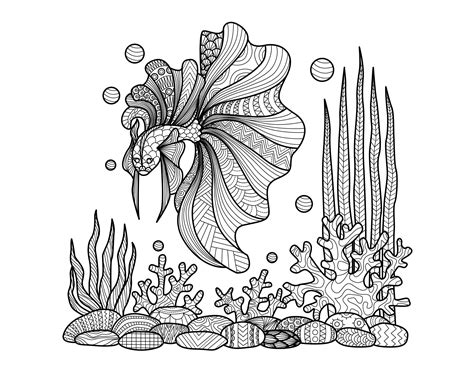 zentangle fish  corals water worlds adult coloring pages