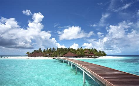 Maldives sea island bridge landscape wallpaper
