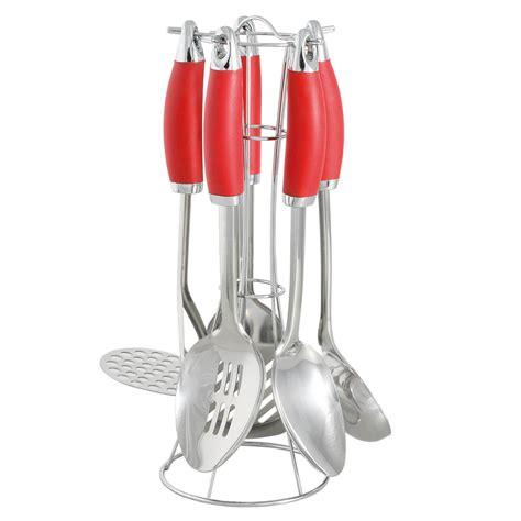 ustensiles de cuisine pro présentoir en métal avec 5 ustensiles de cuisine en inox
