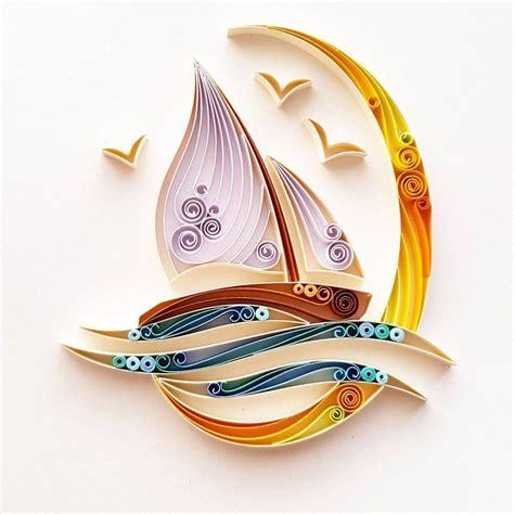 quilled paper art sailing boat handmade artwork etsy
